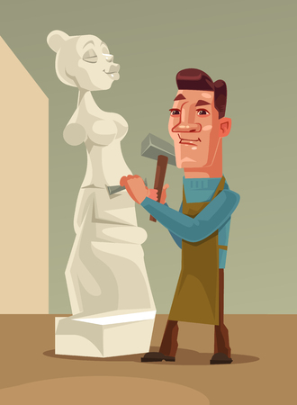 Happy smiling sculptor man character creating woman from stone. Vector flat cartoon illustration Çizim
