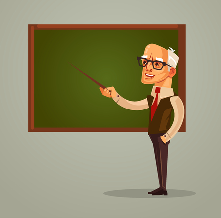 Happy smiling professor teacher old man character pointing on blackboard. Vector flat cartoon illustration