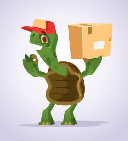 Glücklicher lächelnder Schildkrötenkuriercharakter, der okayanblick zeigt. Flache Karikaturillustration des Vektors Standard-Bild - 87851538