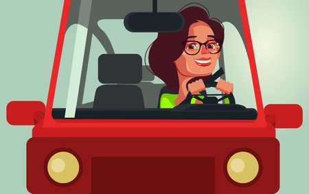 Happy smiling woman driving car. Vector flat cartoon illustration