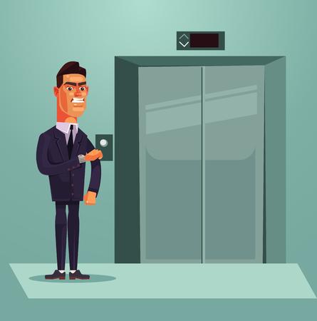 怒っている悲しいオフィス ワーカーがエレベーターを待っています。ベクトル フラット漫画イラスト  イラスト・ベクター素材