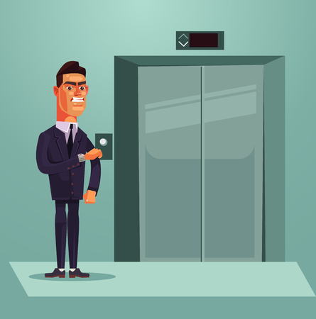 Angry sad office worker waiting for an elevator. Vector flat cartoon illustration