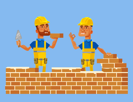 Happy smiling construction workers. Vector flat cartoon illustration Иллюстрация