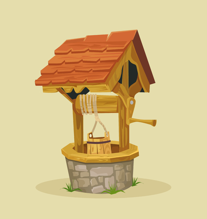 Isolated well. Vector flat cartoon illustration Illusztráció