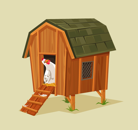 Happy smiling chicken character looking out nest. Vector flat cartoon illustration Ilustração