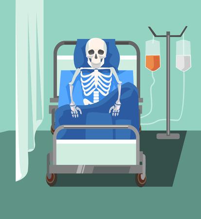 Dead patient. Too slowly medicine help. Health care problems. Vector flat cartoon illustration Vetores