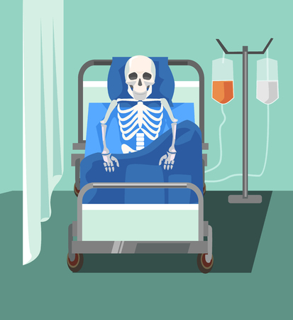 Dead patient. Too slowly medicine help. Health care problems. Vector flat cartoon illustration Illustration