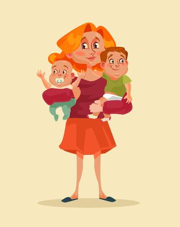 Gelukkige lachende moeder die twee kinderen in handen houdt. Vector platte cartoon illustratie