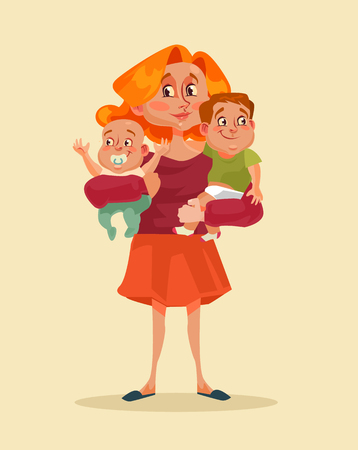 Happy smiling mother holding two children in hands. Vector flat cartoon illustration Illustration