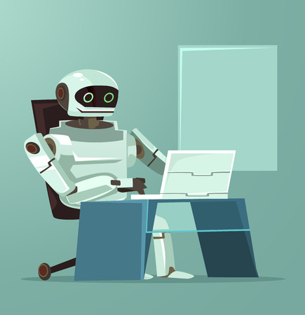 Happy smiling robot office worker working at computer. Artificial intellect concept. Vector flat cartoon illustration