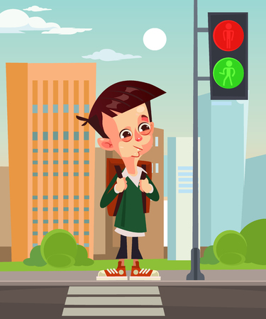 Happy smiling school boy. Vector flat cartoon illustration