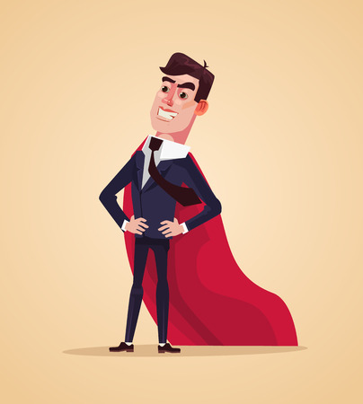 Happy smiling successful office worker businessman. Vector flat cartoon illustration