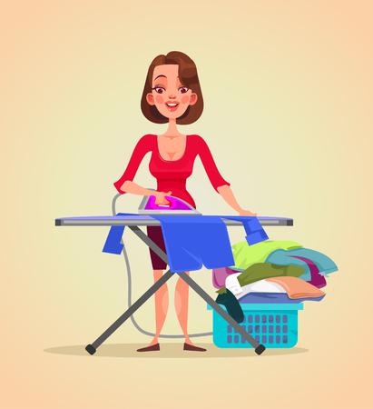幸せな笑みを浮かべて女性主婦文字アイロン服。ベクトル フラット漫画イラスト