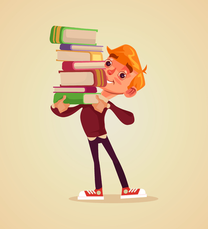 Happy smiling cheerful boy student character hold pile of book. Vector flat cartoon illustration