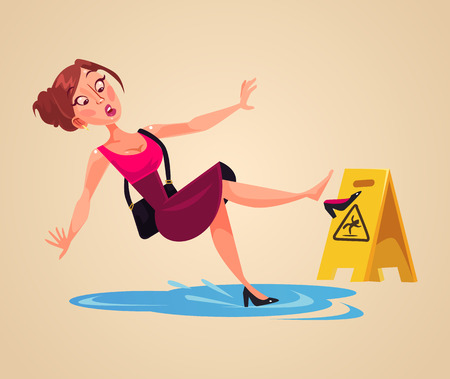 Inconsiderate woman's character slips on wet floor. Vector flat cartoon illustration