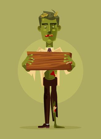 Zombiemanncharakter, der Holzschild hält. Halloween-Konzept Flache Karikaturillustration des Vektors Vektorgrafik