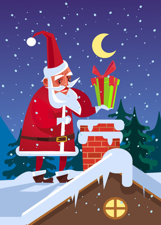 Happy smiling Santa Claus put gift box in chimney. Marry Christmas and Happy New Year concept. Vector flat cartoon illustration Ilustracja