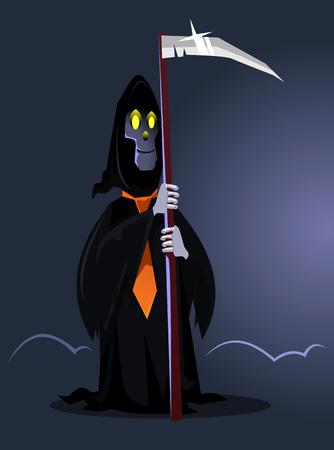 Happy smiling death character. Happy Halloween concept. Vector flat cartoon illustration