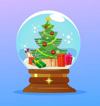 Christmas ball with tree and gift boxes. Happy New Year concept. Vector flat cartoon illustration