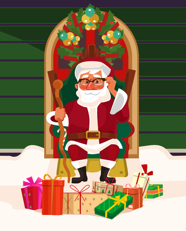 Happy smiling Santa Claus sitting on armchair among gift boxes. Marry Christmas and Happy New Year concept. Vector flat cartoon illustration