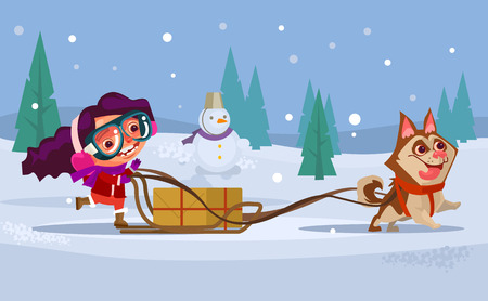 Happy smiling girl. Winter holiday concept. Vector flat cartoon illustration