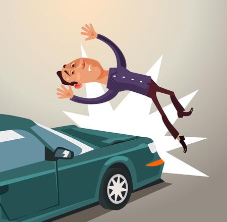 飲酒運転は、車で人を打ちます。道路事故概念。ベクトル フラット漫画イラスト