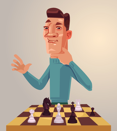 Thinking man character play chess. Vector flat cartoon illustration Çizim