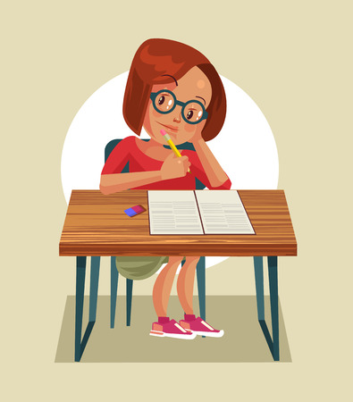 Little girl character doing homework. Vector flat cartoon illustration