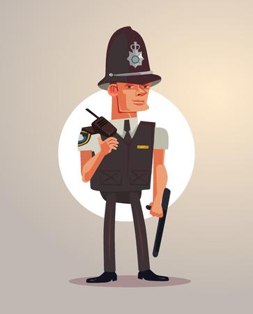 British London policeman character. Vector flat cartoon illustration