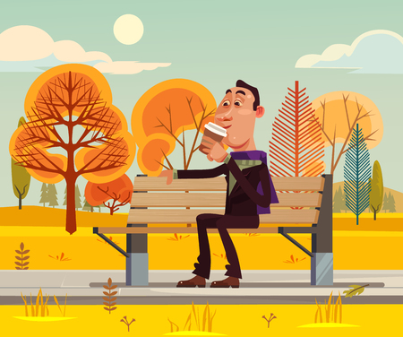 Happy smiling man sitting on bench and drinking coffee. Vector flat cartoon illustration