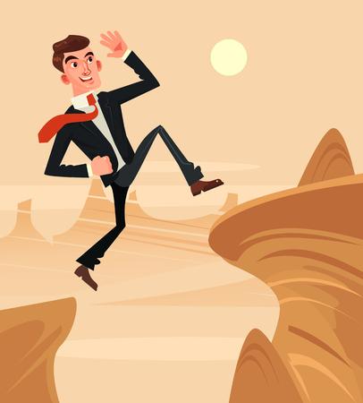 勇敢な会社員。ベクトル フラット漫画イラスト  イラスト・ベクター素材