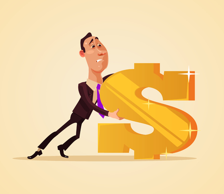 Office worker businessman. Vector flat cartoon illustration