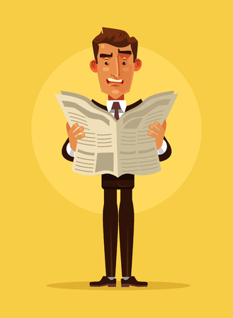 Surprised office worker. Vector flat cartoon illustration Illustration