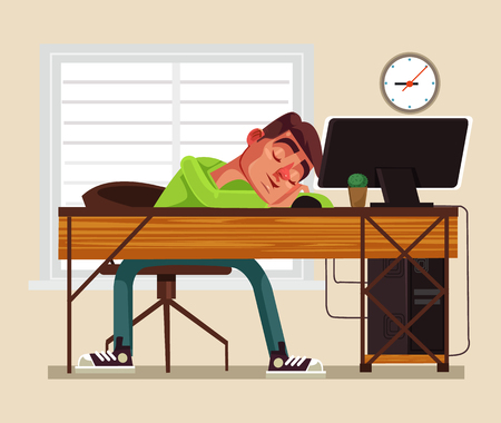Tired man office worker sleeping on workplace. Vector flat cartoon illustration