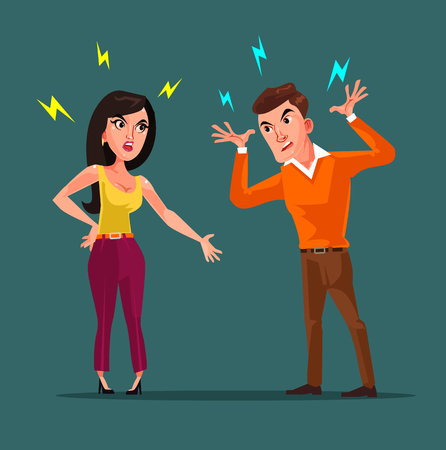 Angry man and woman characters quarreling. Vector flat cartoon illustration