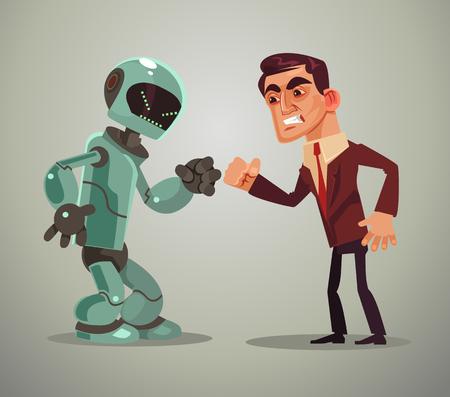 Hombre vs robot. Ilustración de dibujos animados plano de vector Ilustración de vector