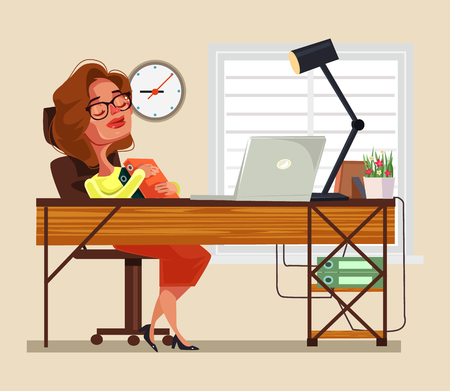 Tired woman office worker sleeping on workplace. Vector flat cartoon illustration 向量圖像