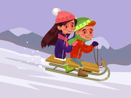 Children slides winter. Vector flat illustration