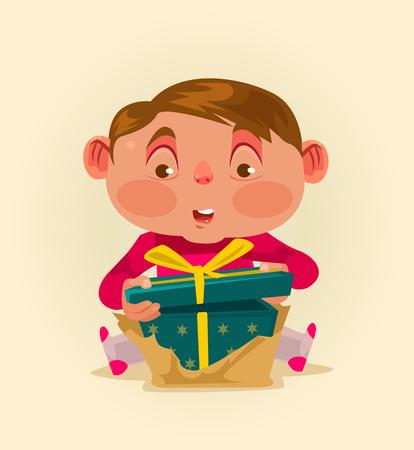 Little boy child get gift box. Vector flat illustration Illustration