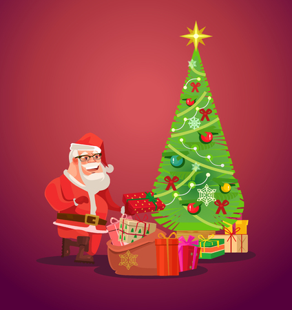 Santa Claus presents under Christmas tree. Vector flat illustration  イラスト・ベクター素材