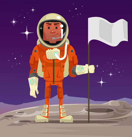 Astronaut standing on the planet and holding flag. Vector cartoon illustration