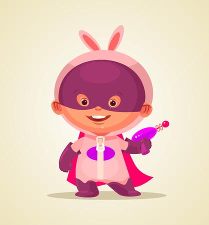 Happy baby superhero character. Vector cartoon illustration Ilustrace