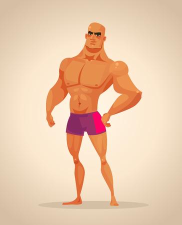 Carácter de hombre fuerte culturista. Ilustración de dibujos animados de vector Foto de archivo - 90065559