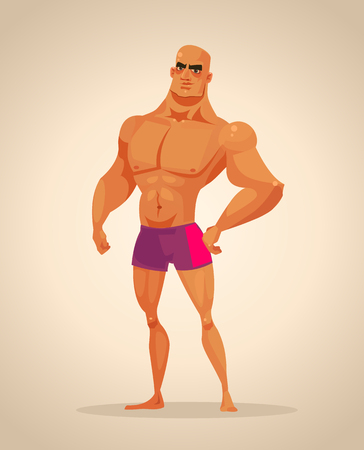 Strong man bodybuilder character. Vector cartoon illustration