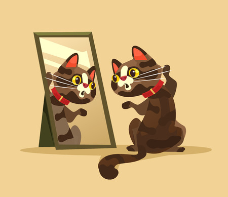 Surprised curious cat character looking at mirror. Vector cartoon illustration