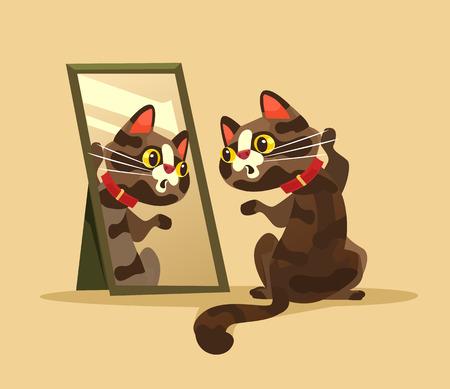 Verrast nieuwsgierig kattenkarakter dat spiegel bekijkt. Vector cartoon illustratie