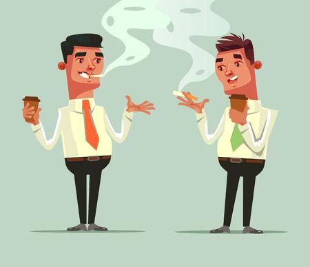 Freund mit zwei Arbeitskräften, der Kaffee trinkt und Zigarette raucht. Kaffee bremskonzept. Flache Karikaturillustration des Vektors Standard-Bild - 90065562