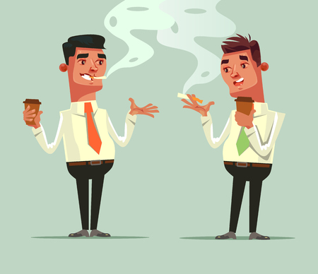 Two workers friend drinking coffee and smoke cigarette. Coffee brake concept. Vector flat cartoon illustration