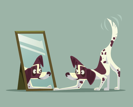 Surprised curious dog character looking at mirror. Vector cartoon illustration Illusztráció