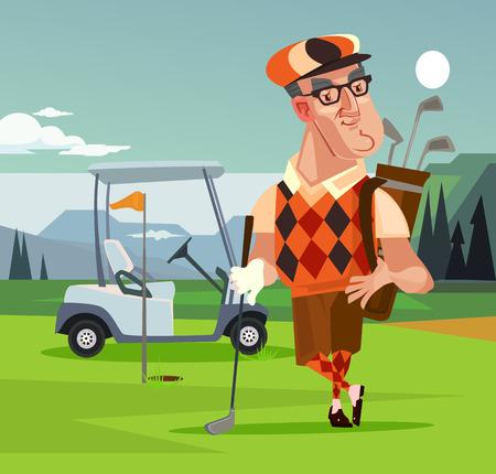 Golf player man character. Vector cartoon illustration 일러스트